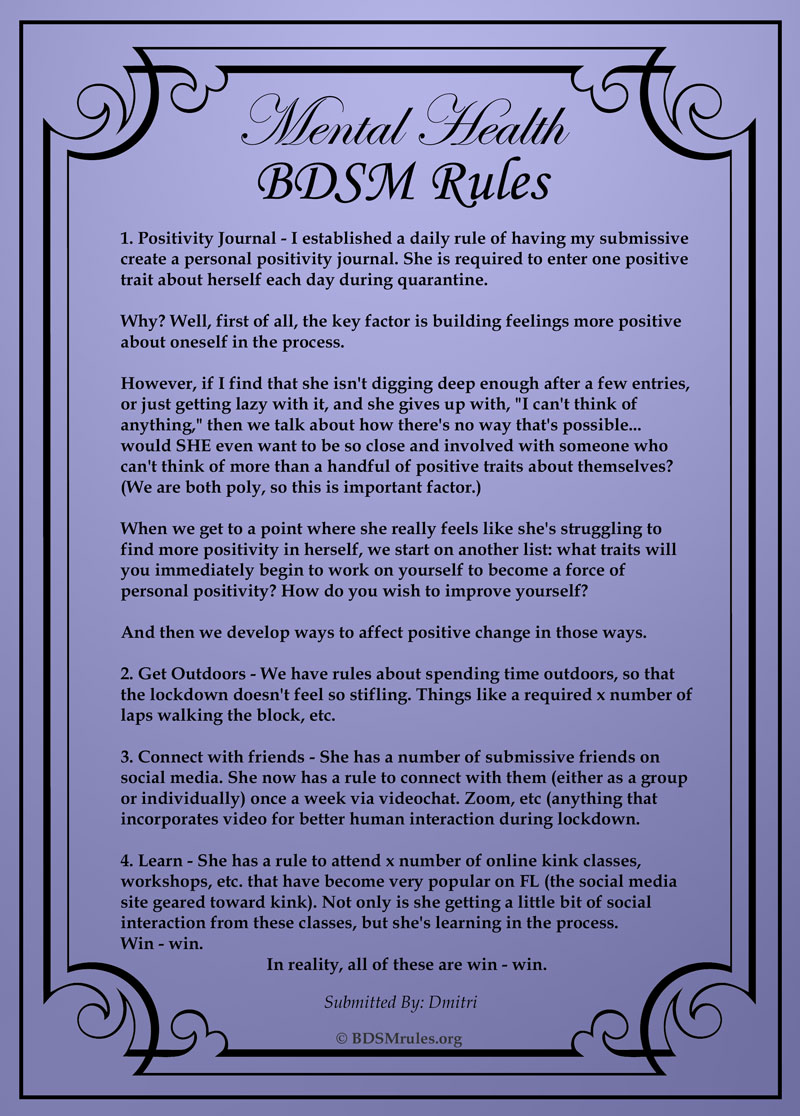 Dmitris BDSM Rules for Mental Health