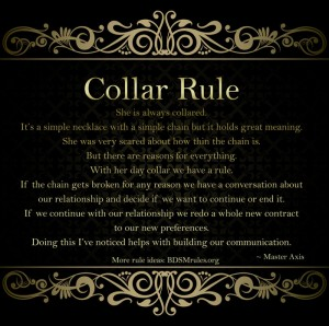 Master/slave collar rule with a twist - BDSM Rules